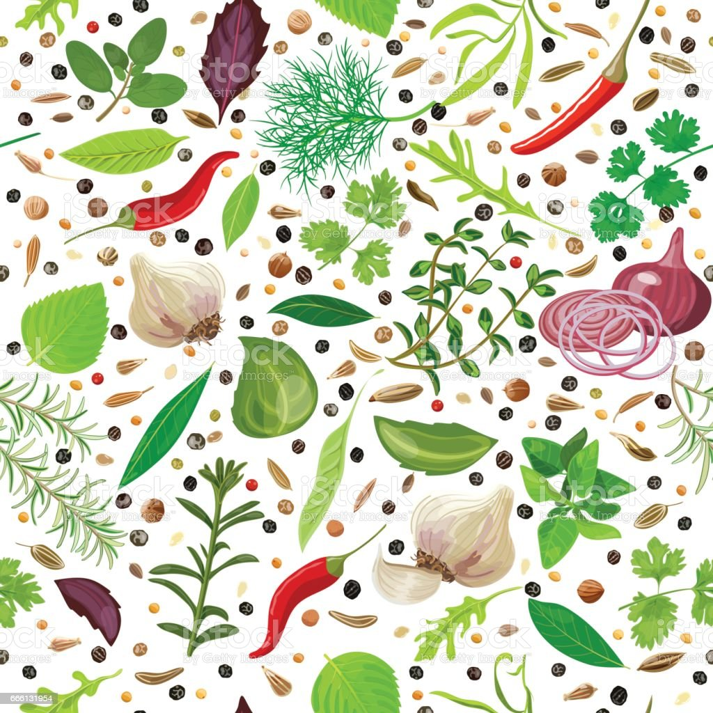 Cooking herbs and spices seamless pattern vector set vector art illustration