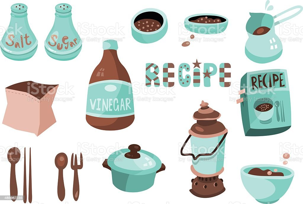 Cooking icons A vector art illustration