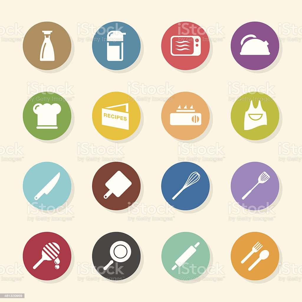 Cooking Icons - Color Circle Series royalty-free stock vector art