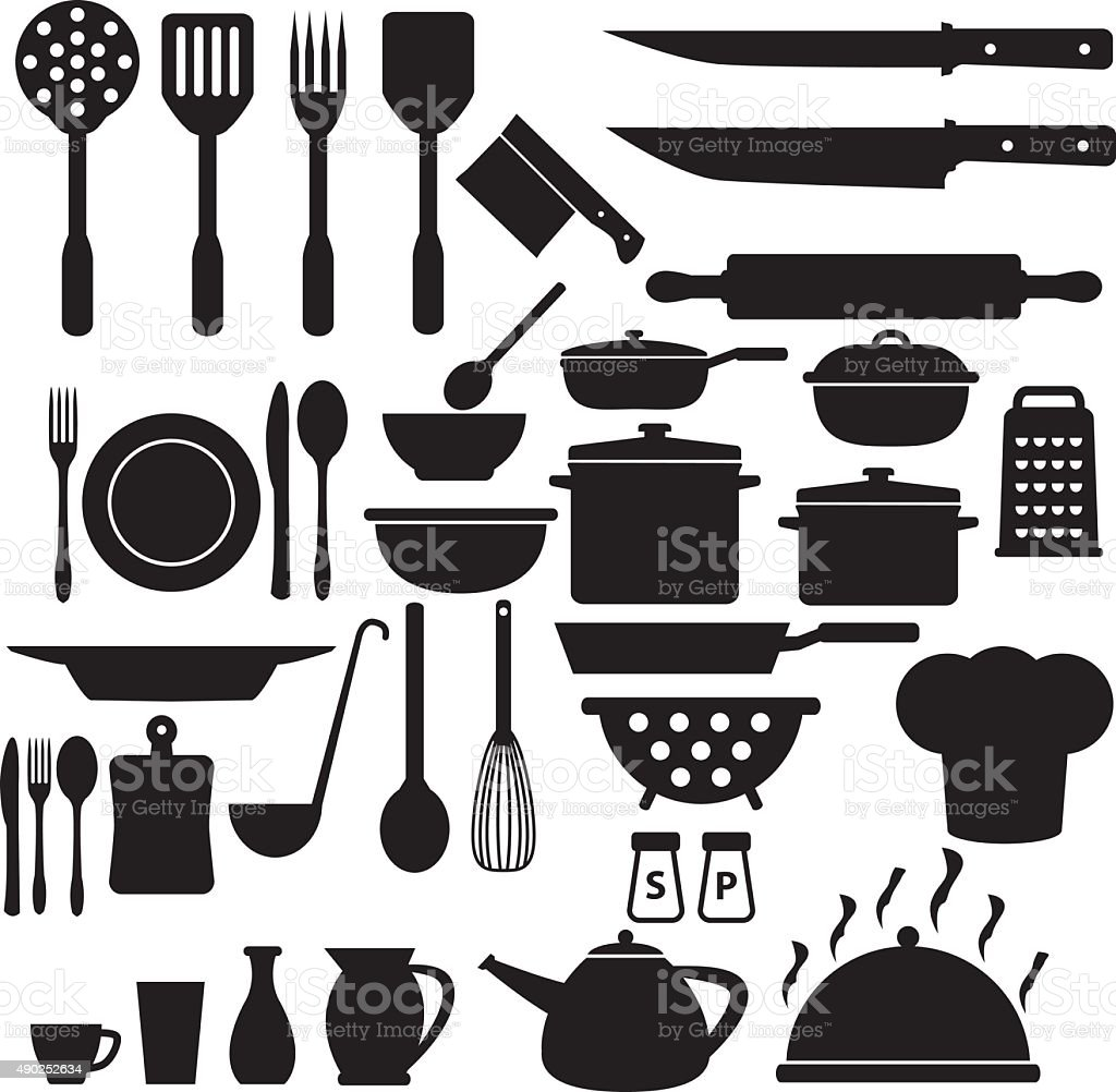 Set Of Black Kitchen Icons Utensils Stock Vector: Cooking Icons Set Stock Vector Art 490252634