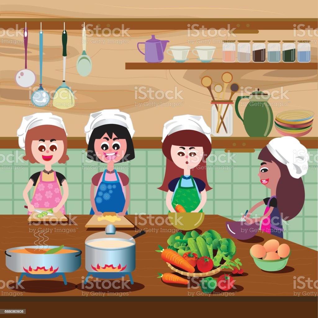Selection of cartoons on cooking kitchens food and eating - Cooking In The Kitchen Royalty Free Stock Vector Art