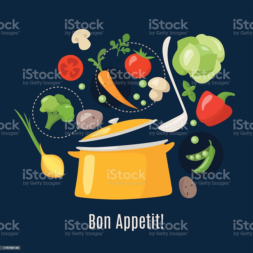 Cooking info graphics. Let's make a soup! vector art illustration