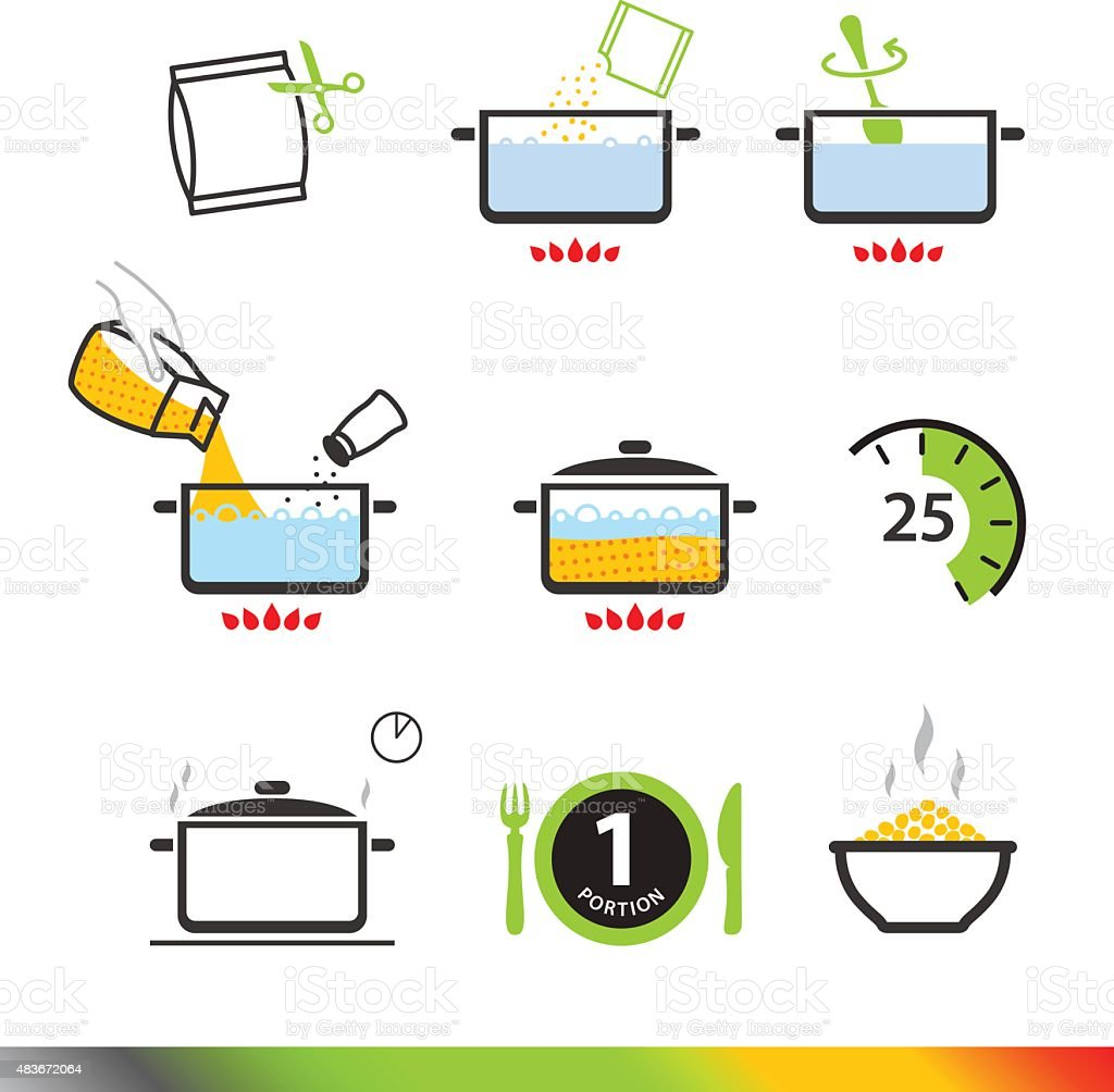 Cooking instruction icons isolated on white background. Vector illustration vector art illustration