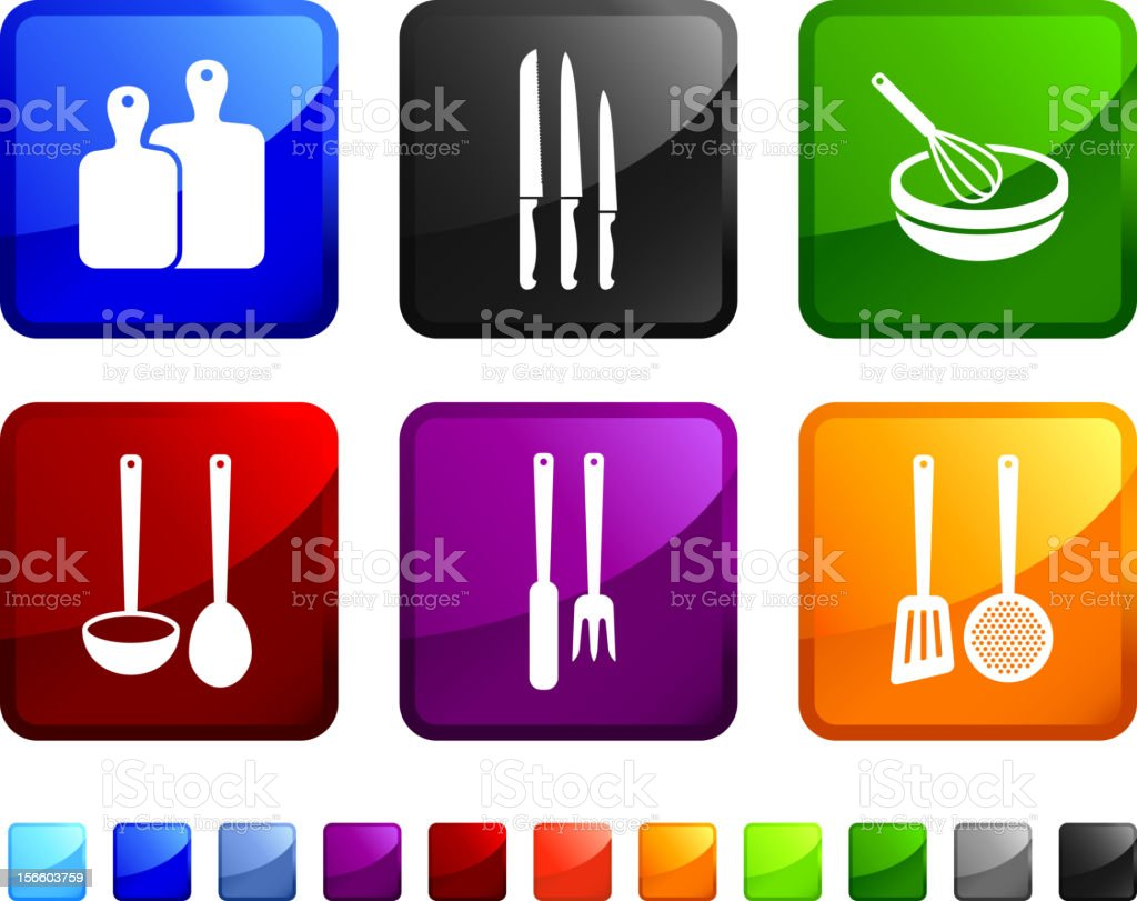 Cooking Items royalty free vector icon set vector art illustration