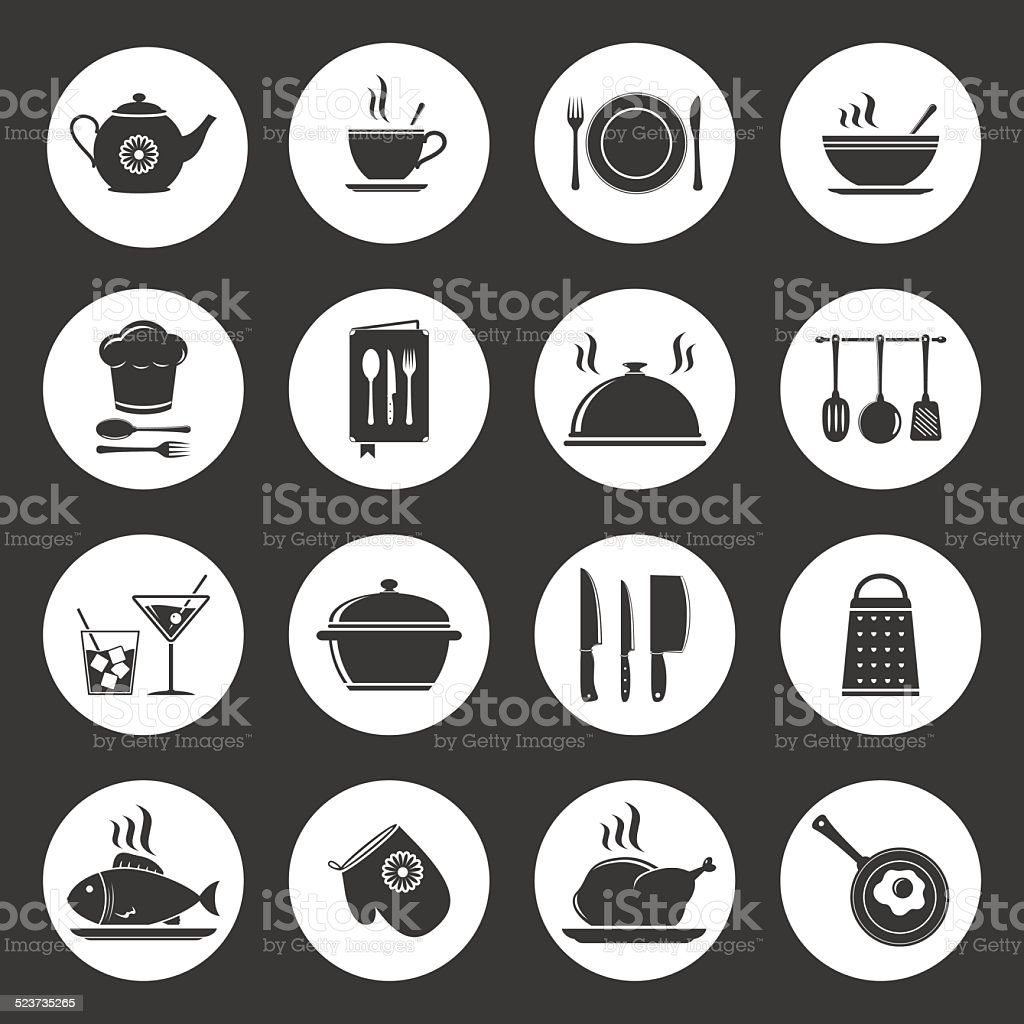 Cooking & kitchen icon set vector art illustration
