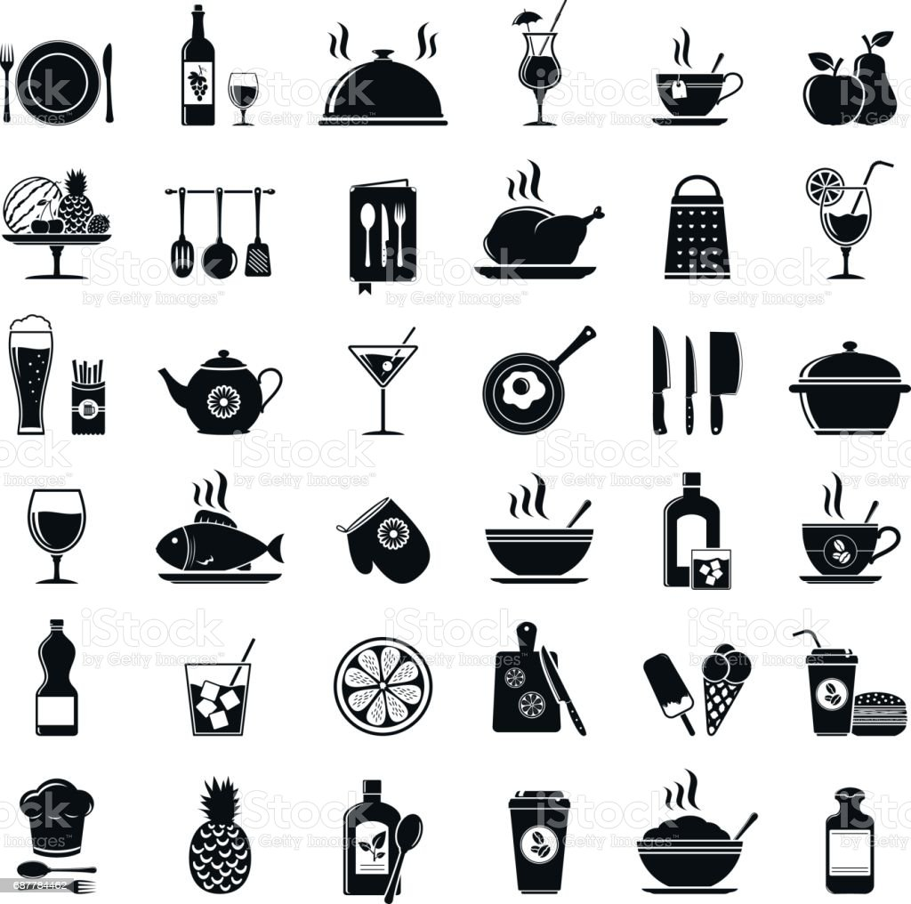 Restaurant Kitchen Toolste cooking kitchen tools food and drinks icons stock vector art