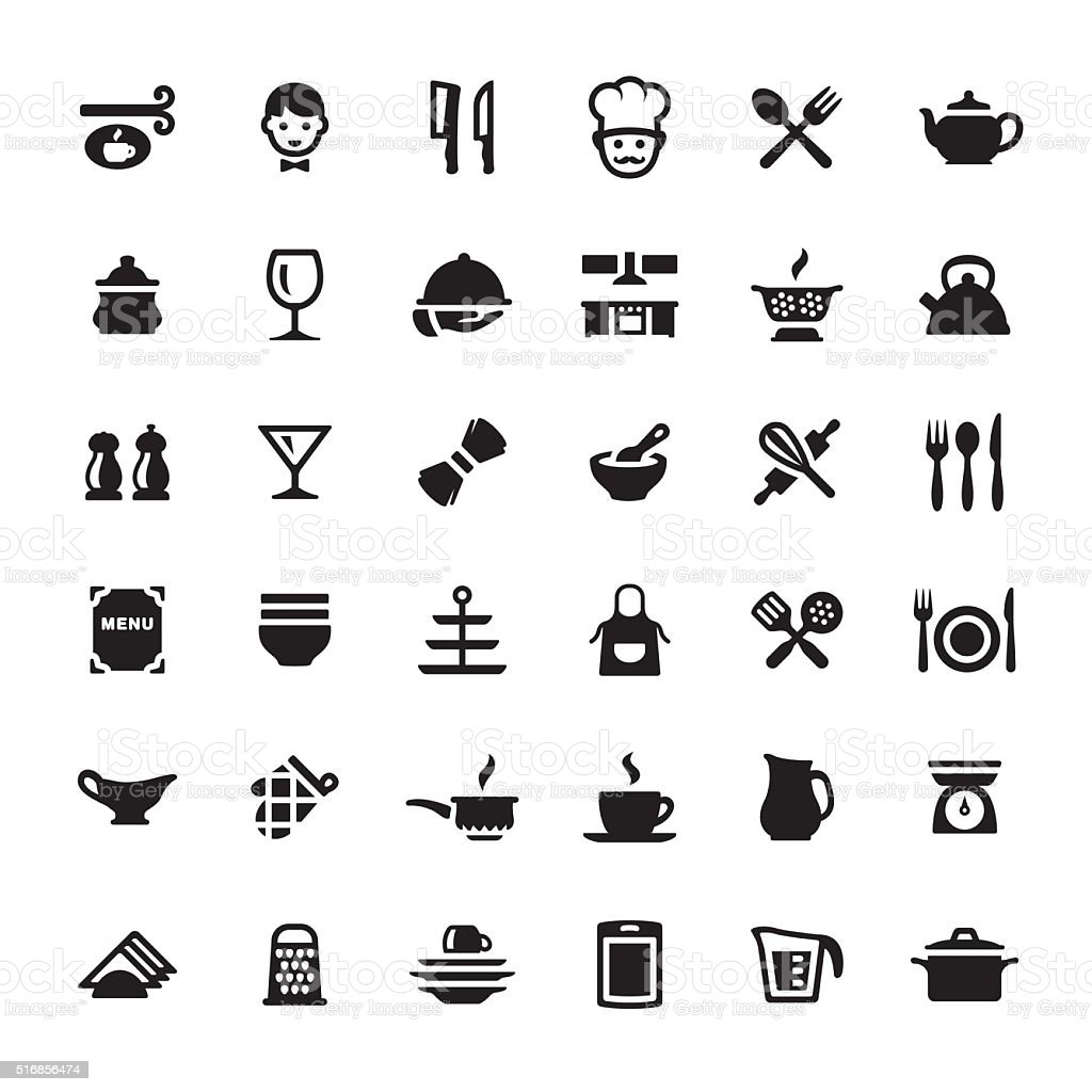 Cooking & Kitchen Utensil vector symbols and icons vector art illustration