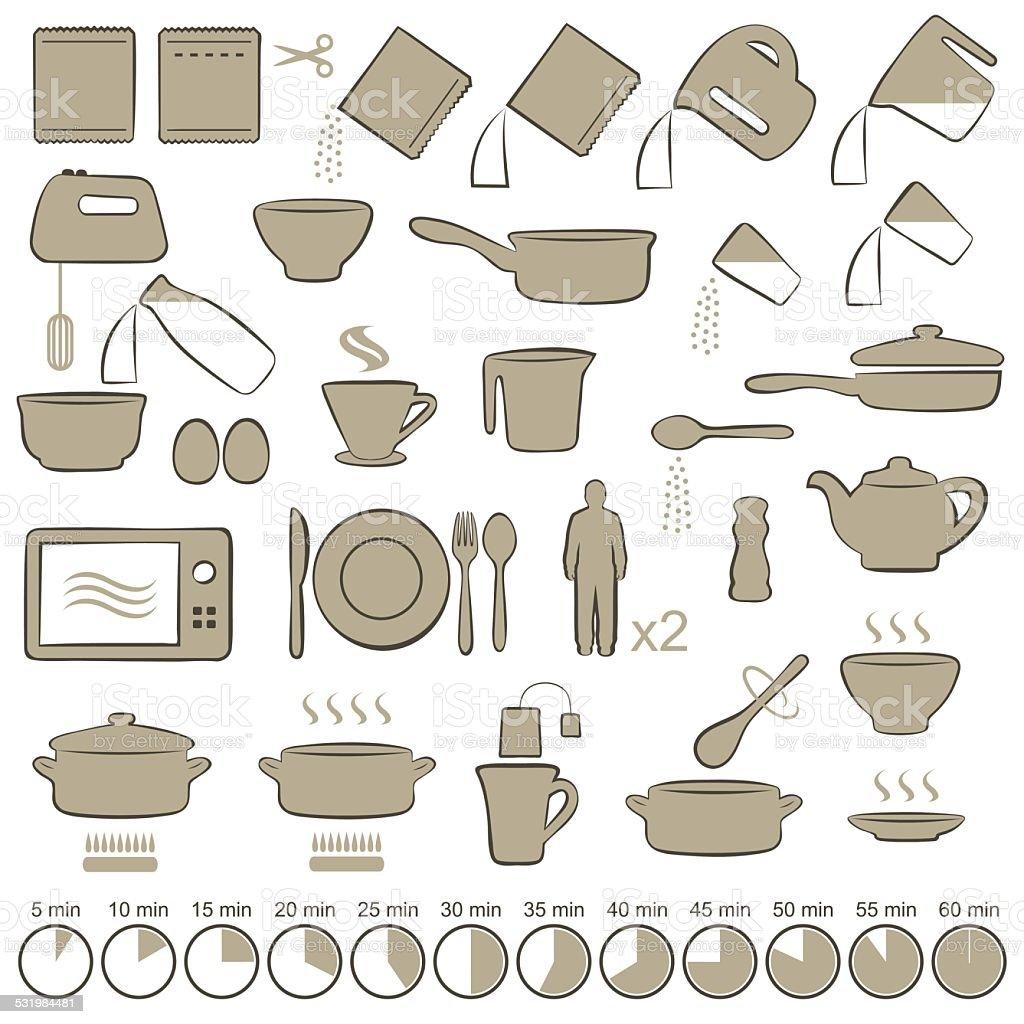cooking manual instructions, vector art illustration