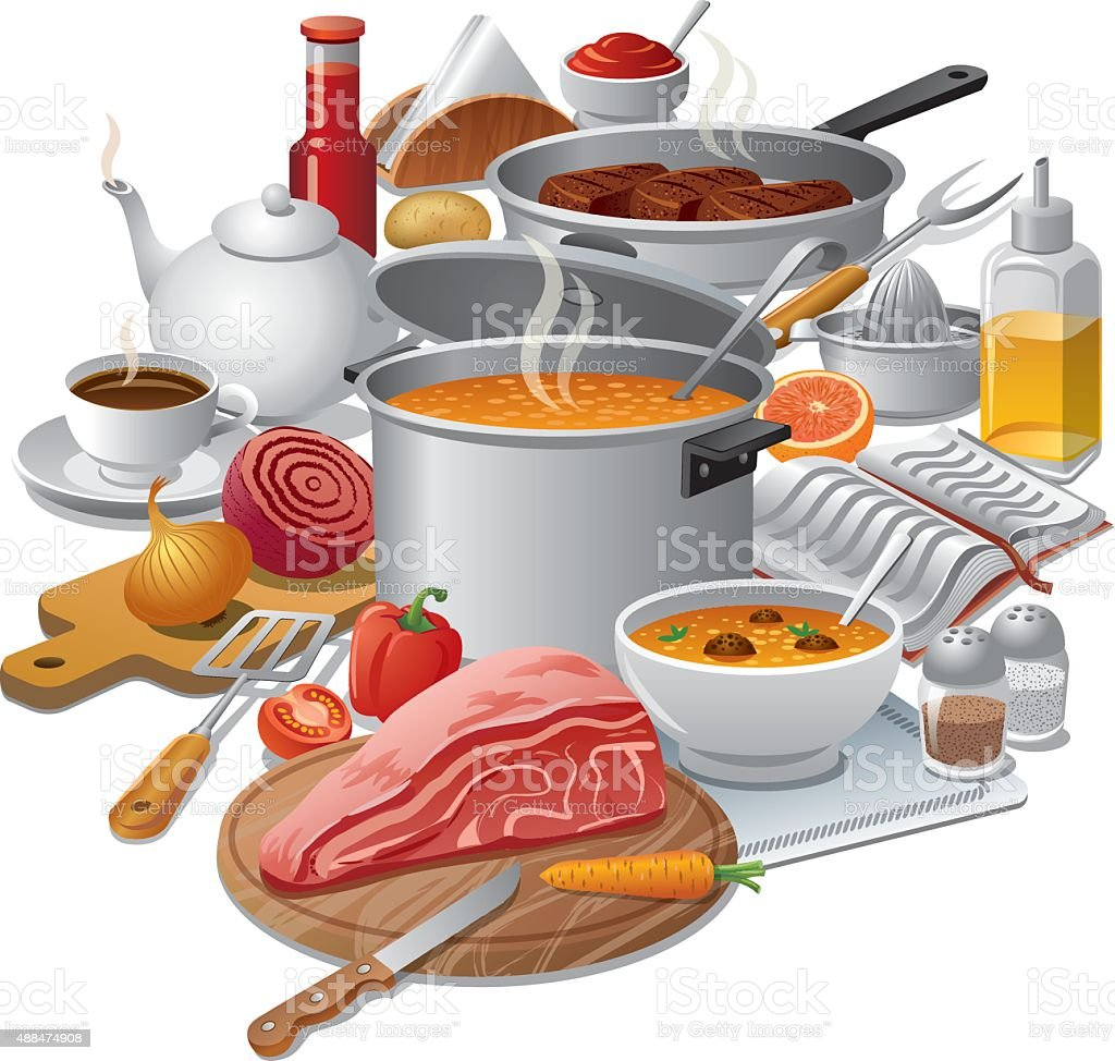 cooking meal vector art illustration