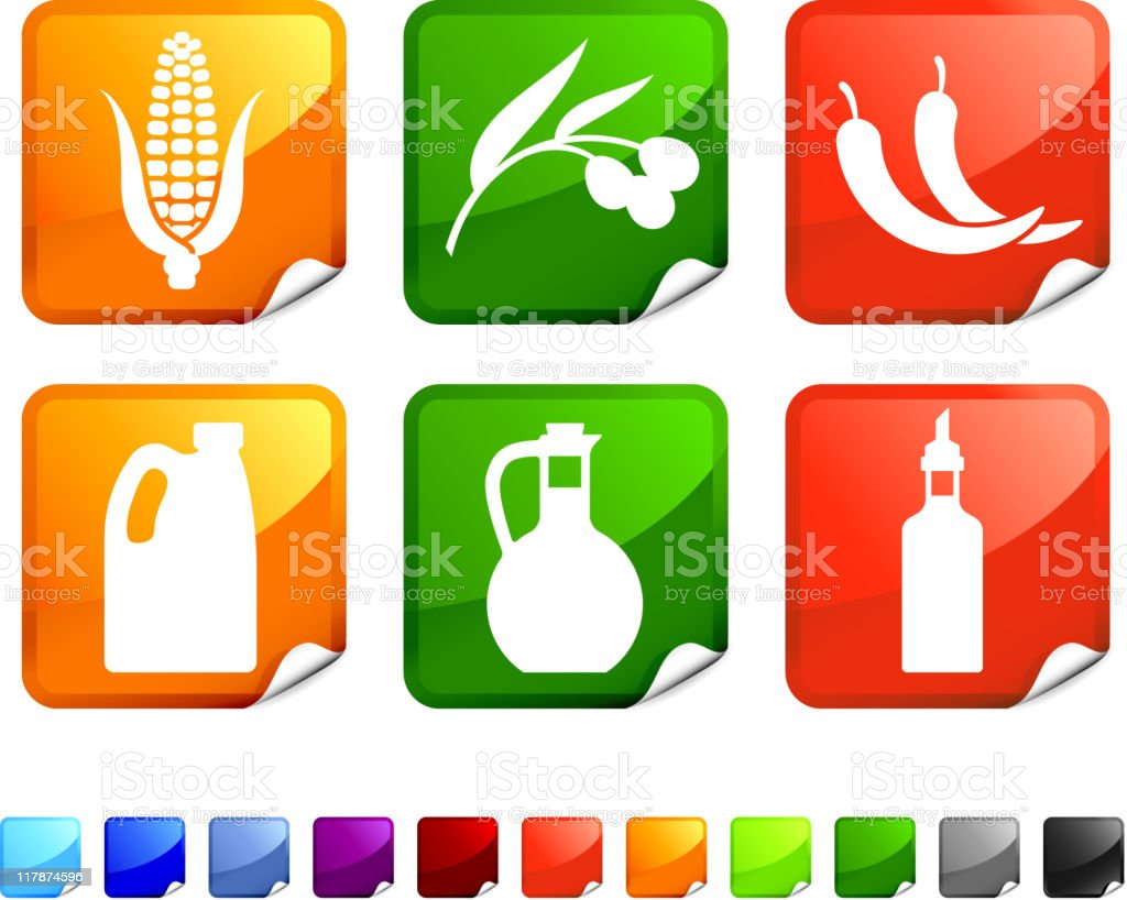 cooking oil types royalty free vector icon set stickers royalty-free stock vector art
