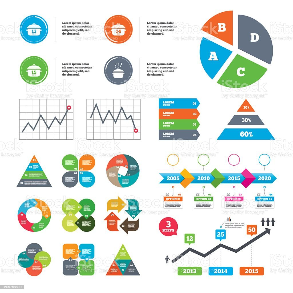 Cooking pan icons. Boil fifteen minutes. vector art illustration