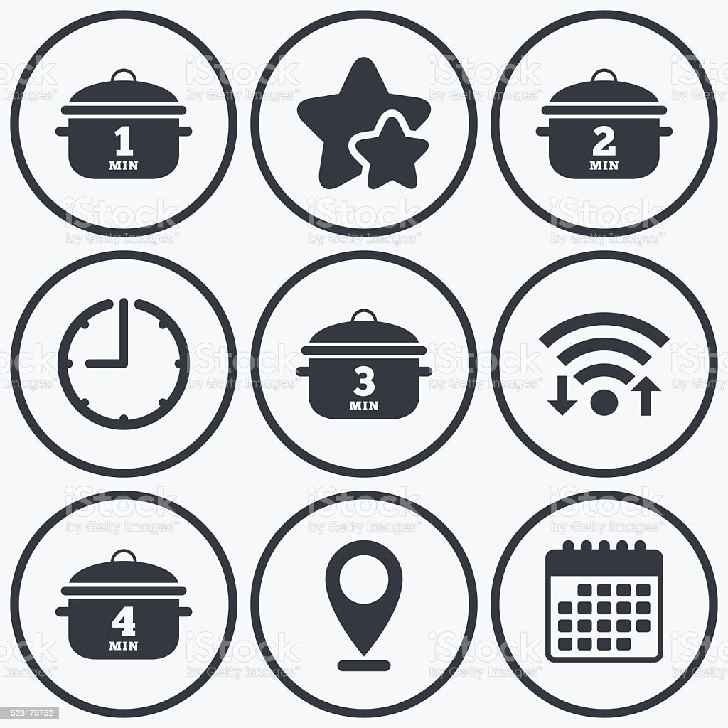 Cooking pan icons. Boil one, four minutes. vector art illustration