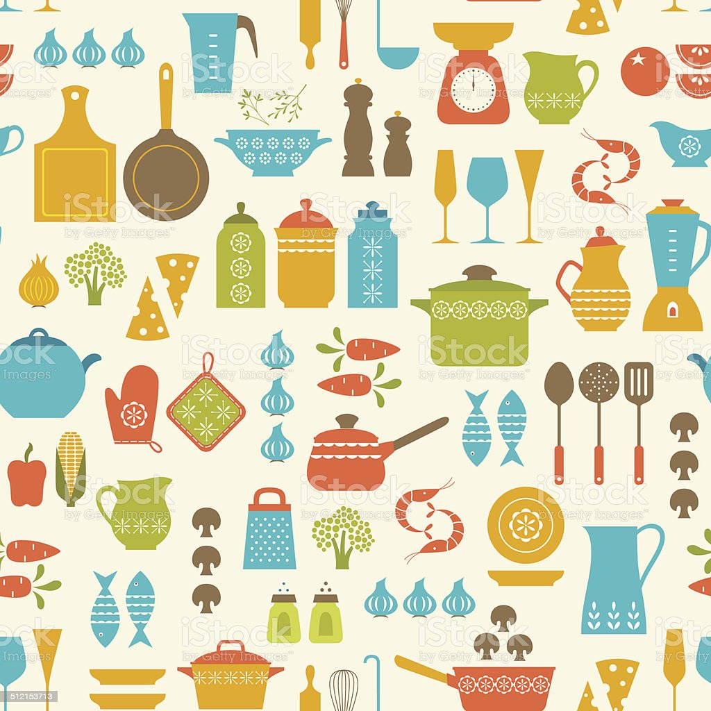Cooking pattern vector art illustration