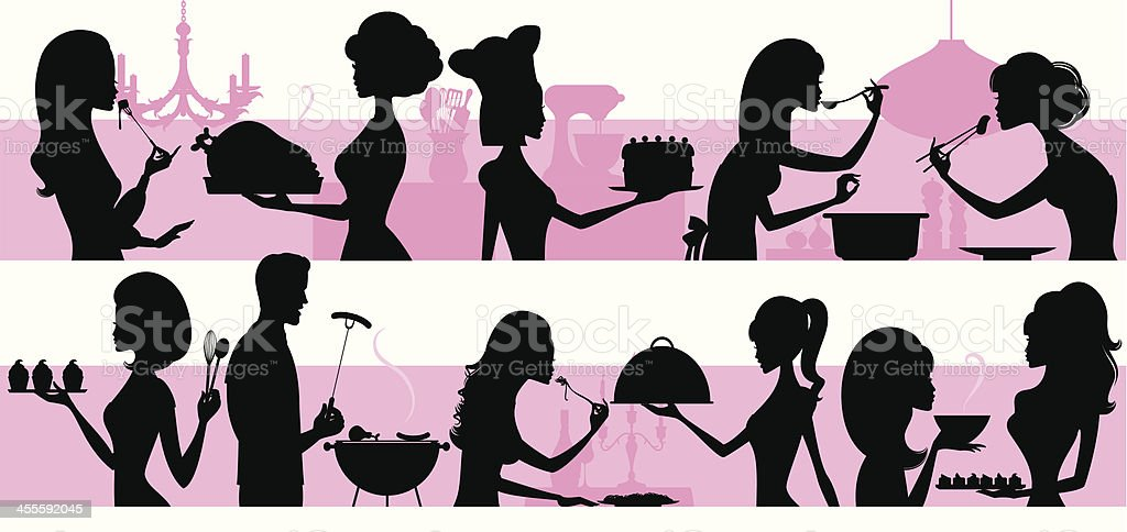 Cooking People vector art illustration
