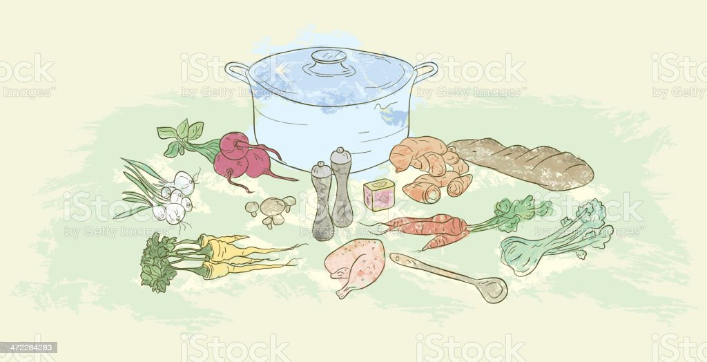Cooking pot, foods and ingredients related to soup making vector art illustration