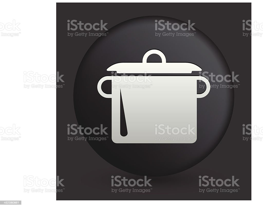 Cooking Pot Icon on Round Black Button royalty-free stock vector art