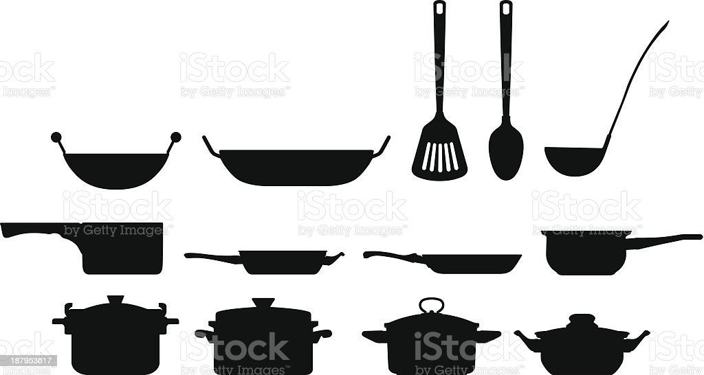 Cooking Pots vector art illustration