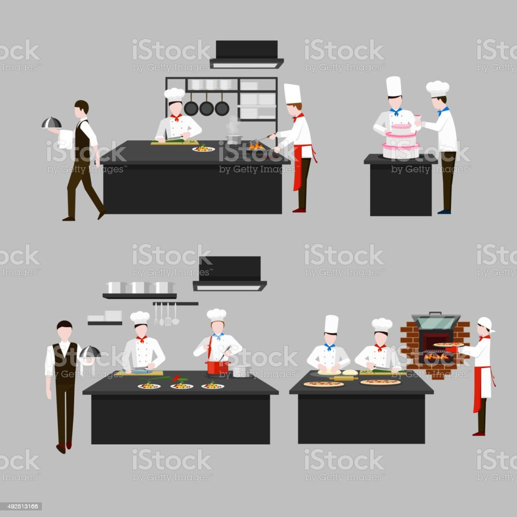 Restaurant Kitchen Illustration cooking process in restaurant kitchen stock vector art 492513166