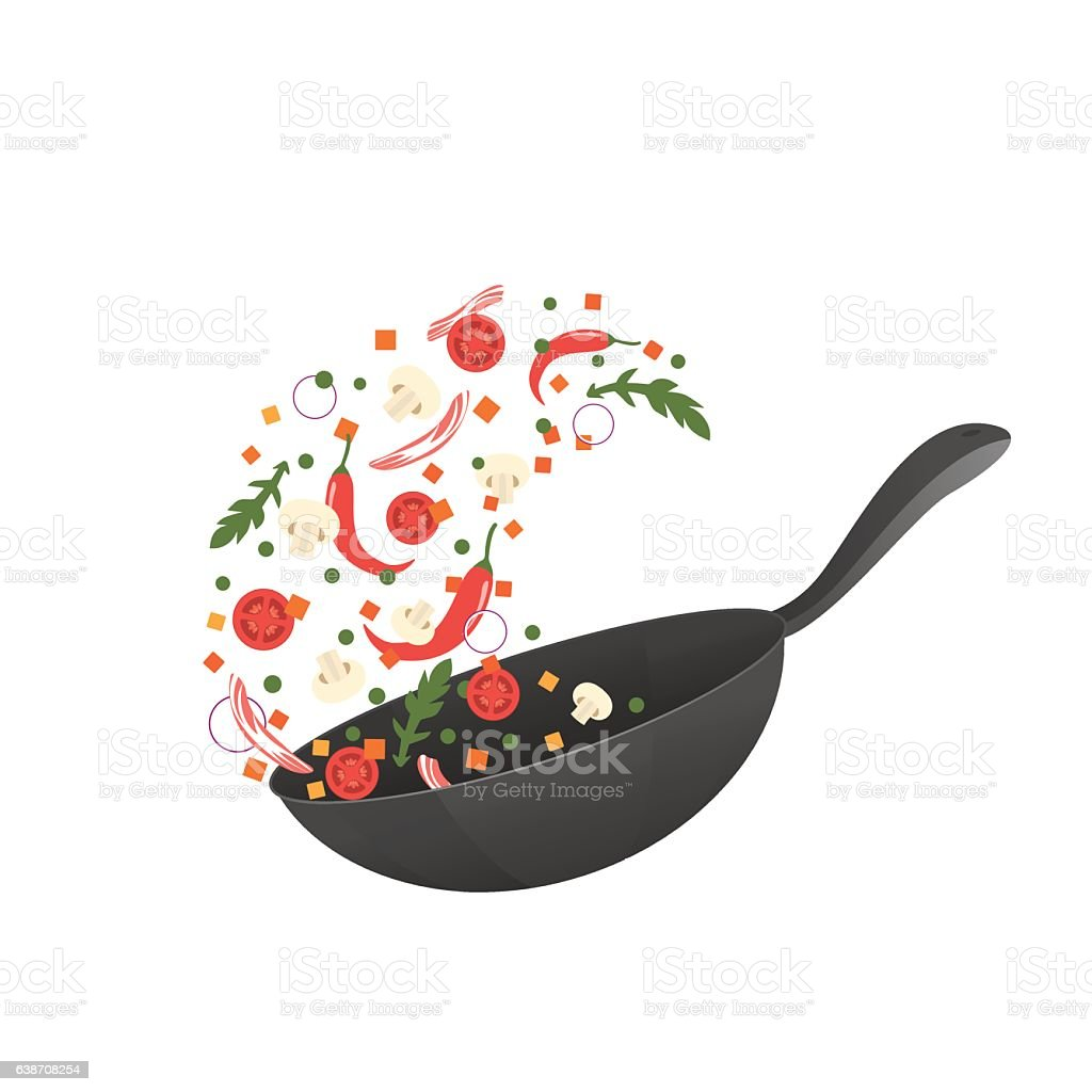 Cooking process vector illustration. Flipping Asian food in a pan vector art illustration