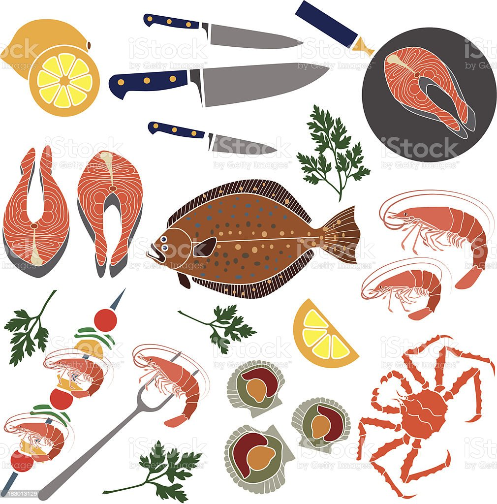 cooking seafood royalty-free stock vector art