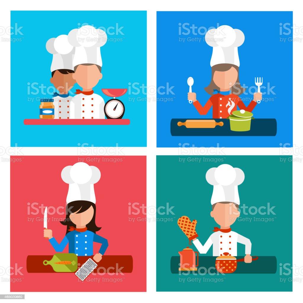Cooking serve meals and food preparation elements vector art illustration