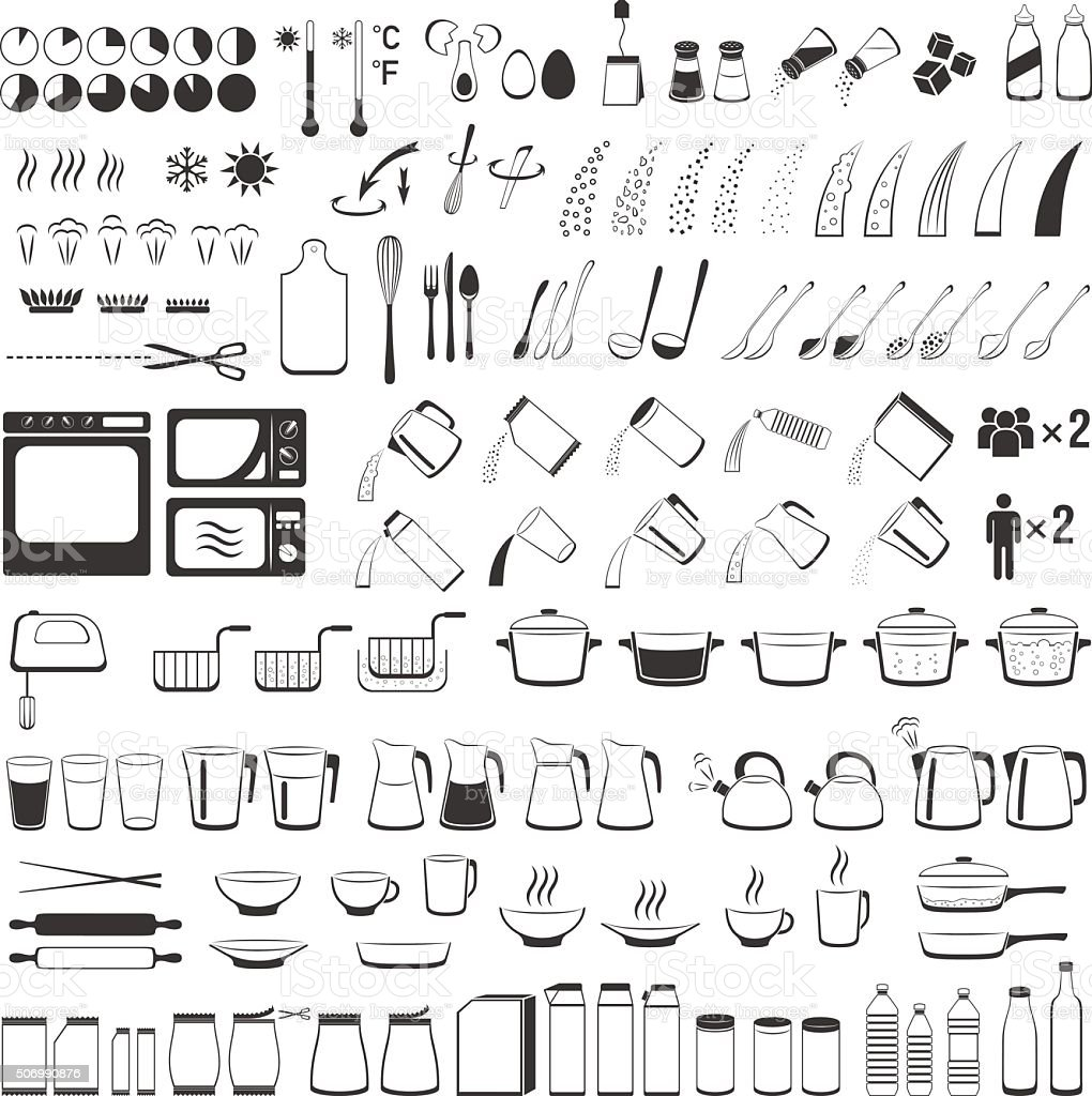 Cooking signs, for manuals on packing. Cooking Instruction icons vector art illustration