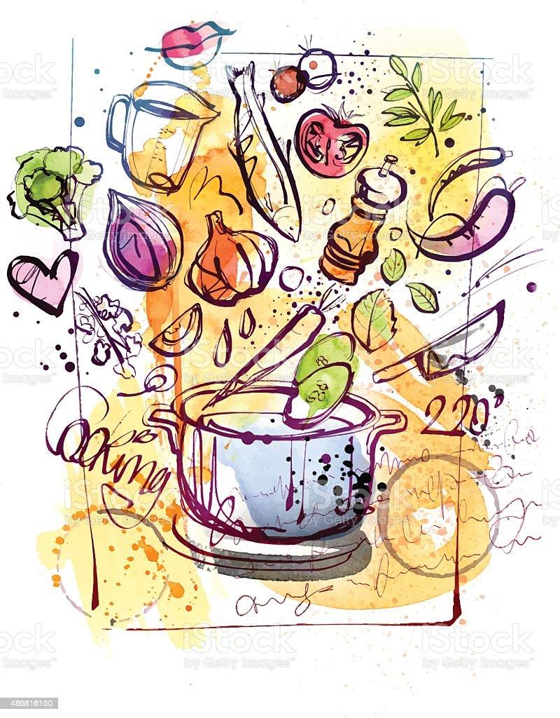 Cooking Sketch vector art illustration