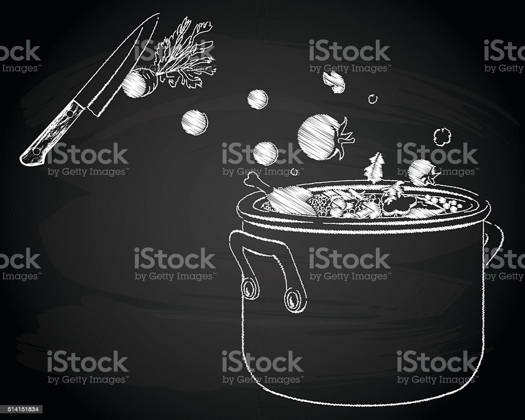 Cooking soup with vegetables vector art illustration