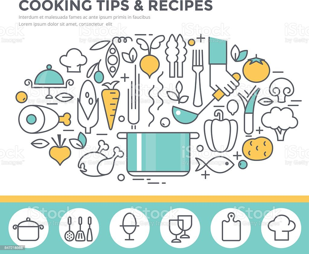 Cooking tips and recipes concept illustration. vector art illustration