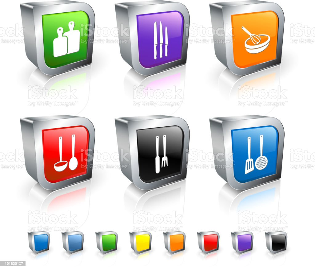Cooking Tools 3D vector icon set with Metal Rim vector art illustration