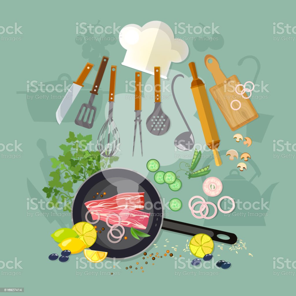 Cooking top view fry meat in a frying pan kitchenware vector art illustration