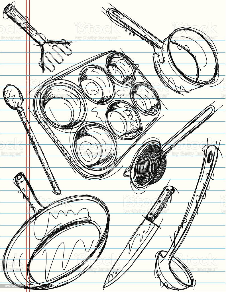 cooking utensil sketches royalty-free stock vector art
