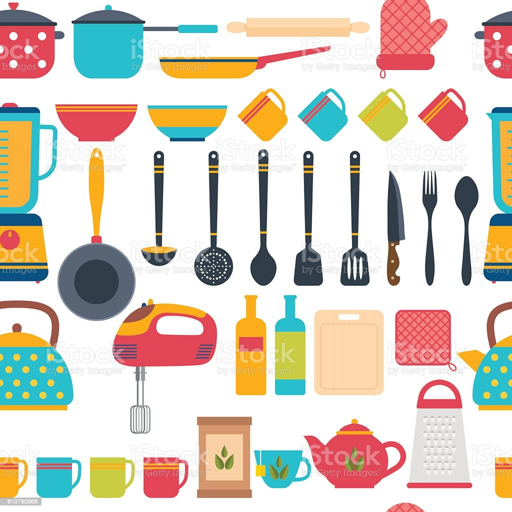 Kitchen Utensils Background cooking utensils background seamless pattern with kitchen tools