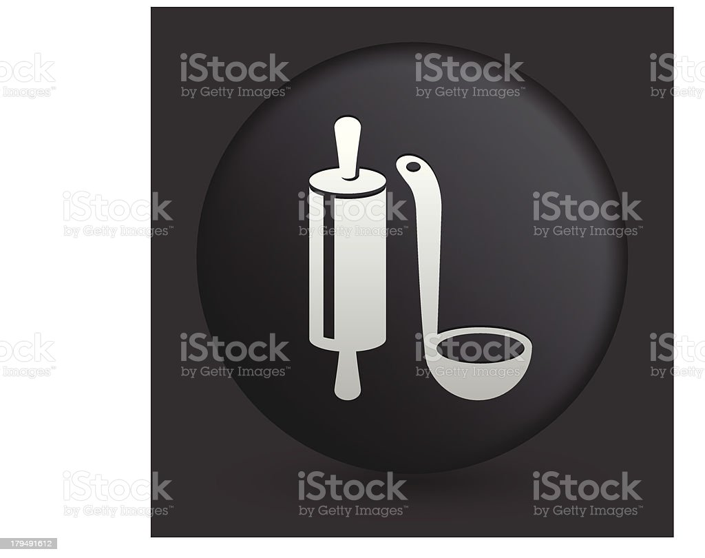 Cooking Utensils Icon on Round Black Button royalty-free stock vector art