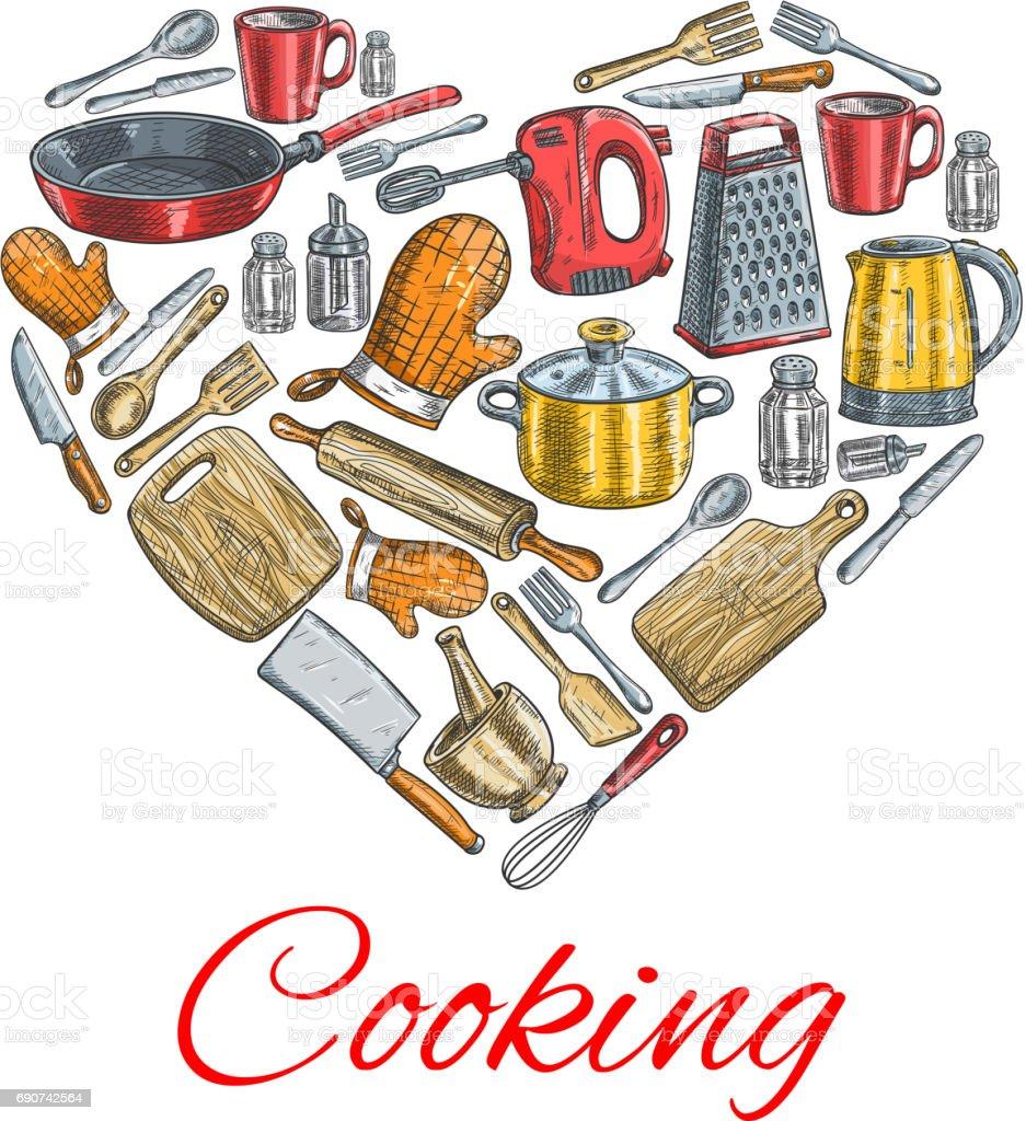 Cooking utensils in heart shape poster vector art illustration