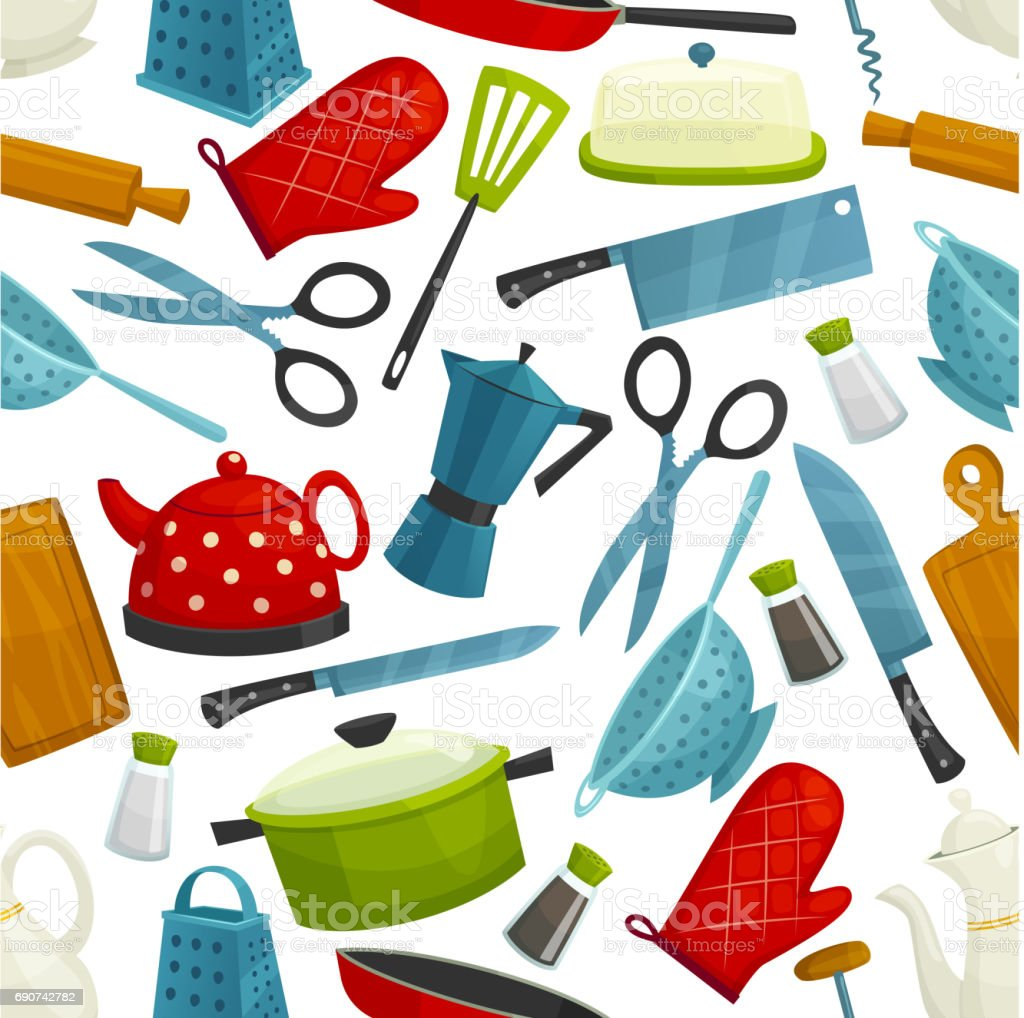 Cooking utensils, kitchenware seamless pattern vector art illustration