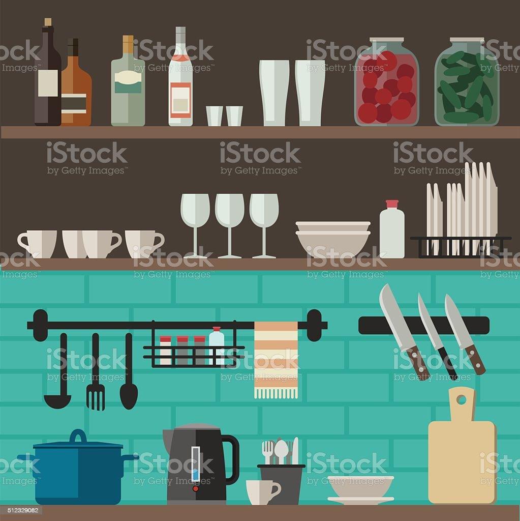 Cooking utensils on shelves. vector art illustration