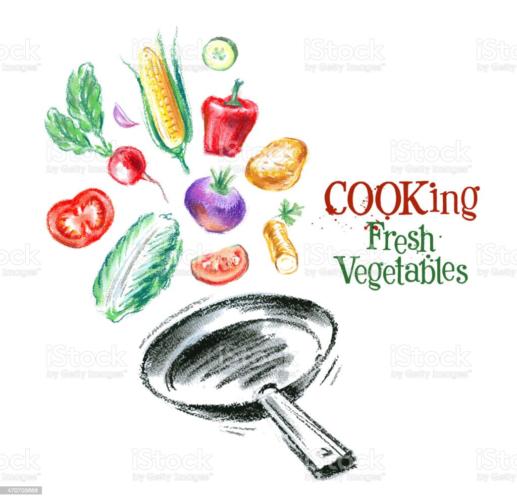 cooking vector logo design template. fresh vegetables, food or diner vector art illustration