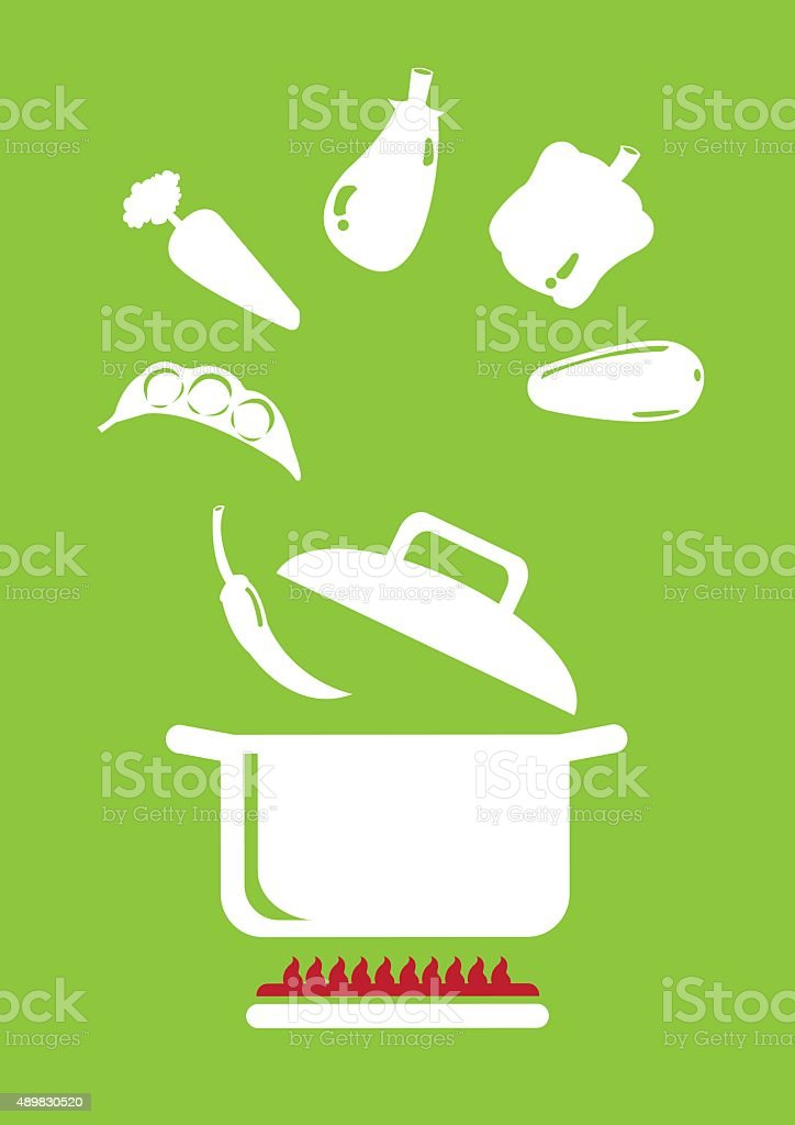 Cooking Vegetables Vector Illustration vector art illustration