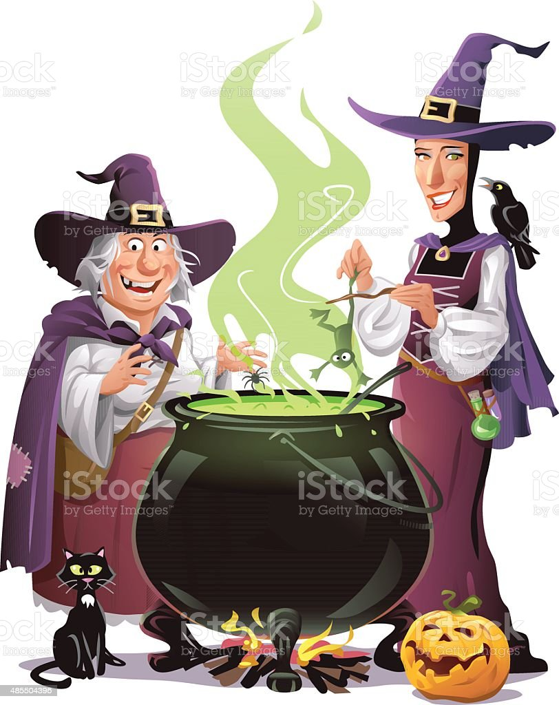 Cooking Witches vector art illustration