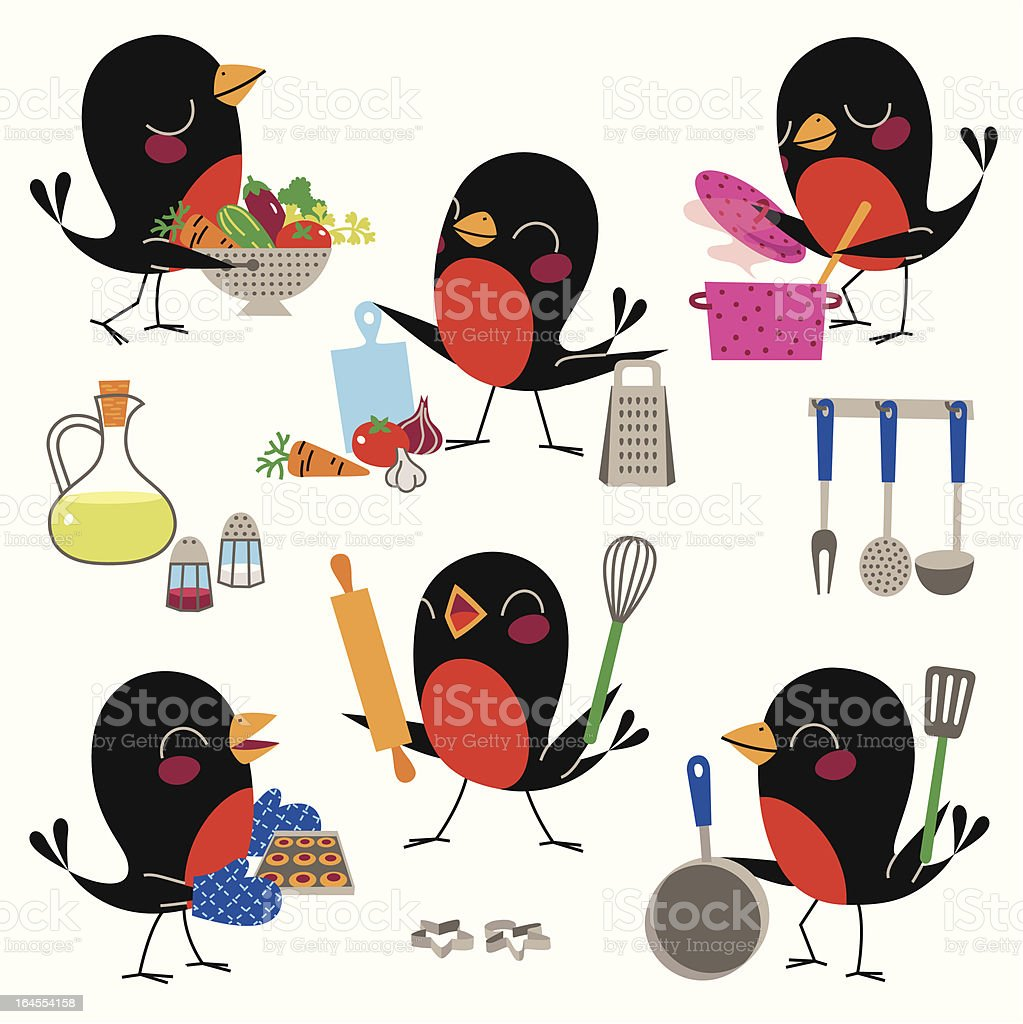 Cooking with Birds. vector art illustration
