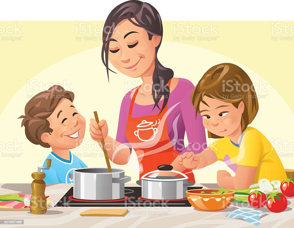 Cooking With Kids vector art illustration