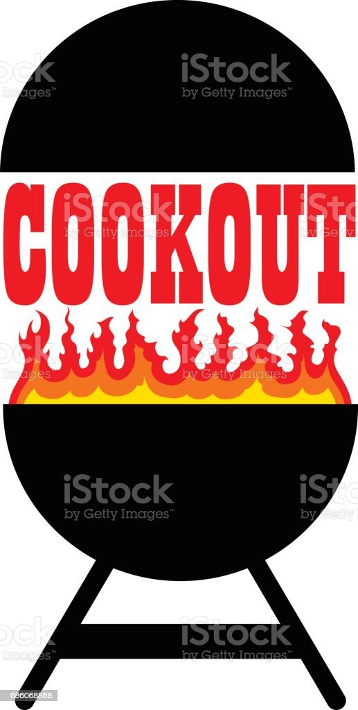 Cookout With Grill vector art illustration