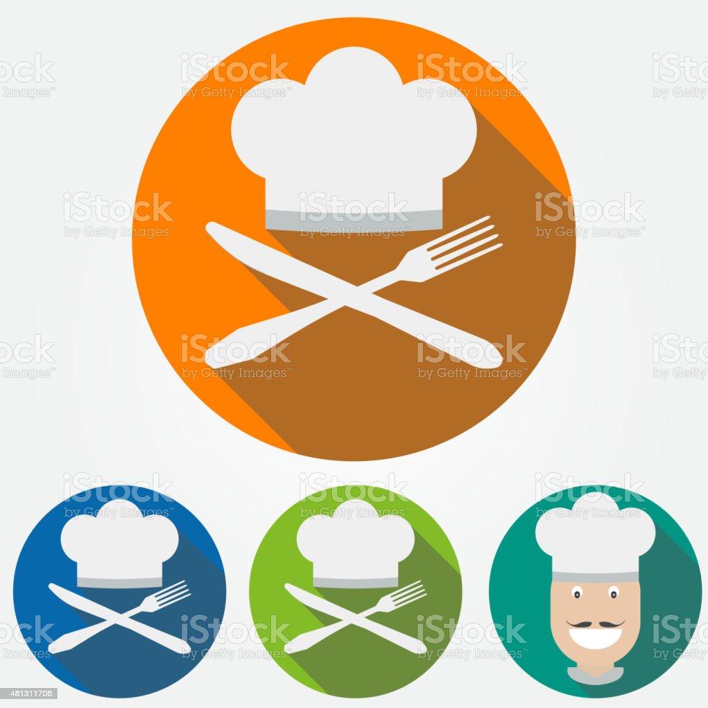 cooks bonnet avec couteau et cuillère stock vecteur libres de ... - Cuisine Professionnelle Bonnet