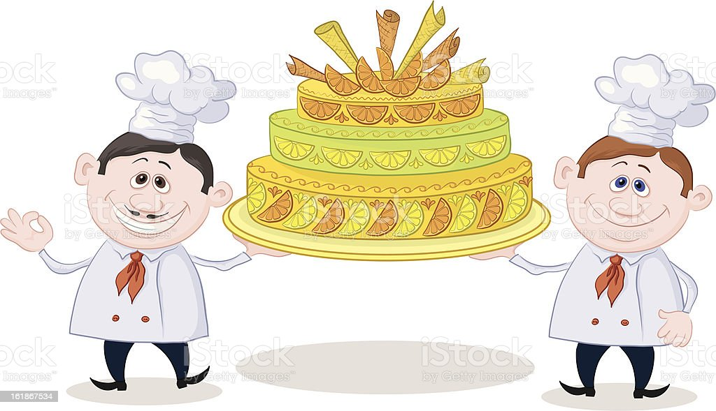 Cooks with holiday cake royalty-free stock vector art