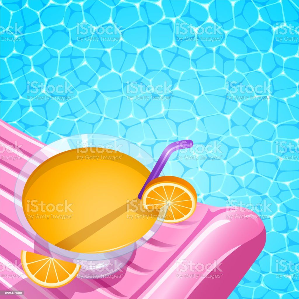 Cooktail Drink in Inflatable Raft at Swimming Pool vector art illustration