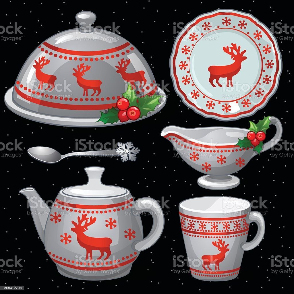 Cookware set for Christmas feast, six items vector art illustration