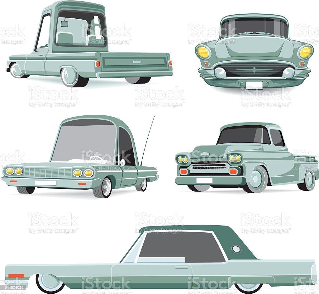 Cool American car set vector art illustration