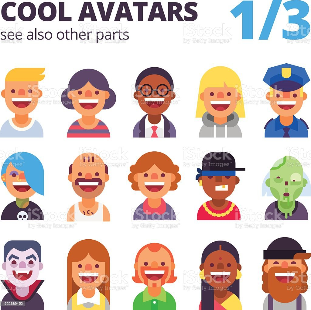 Cool avatars.  Part 1 of 3. See also other parts. vector art illustration