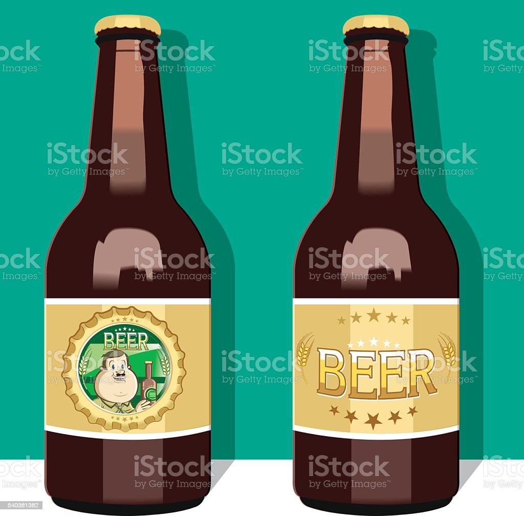 Cool beer bottles vector art illustration